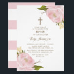 "Watercolor Blush Pink Peonies Baptism Invitation<br><div class=""desc"">Elegant and feminine baptism invitation featuring hand-painted pink peonies and stripes background. This customizable floral baptism invitation,  perfect for spring events.</div>"