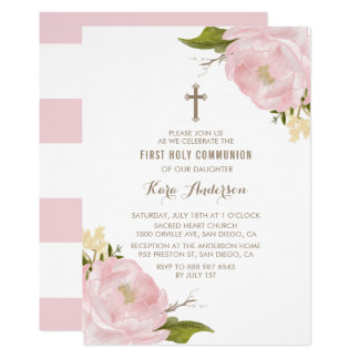 Watercolor Blush Pink Peonies First Holy Communion Card