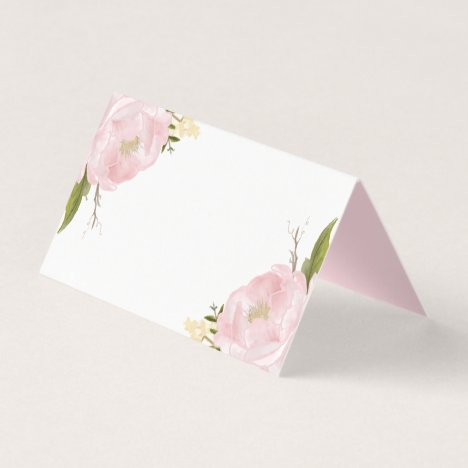 Watercolor Blush Pink Peonies Floral Place Cards