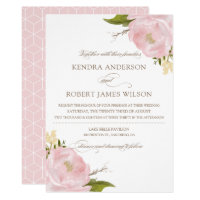 Watercolor Blush Pink Peonies Wedding Invitation