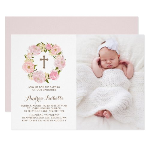 Watercolor Blush Pink Peonies Wreath Photo Baptism Invitation