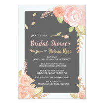 Watercolor Blush Pink Roses Charcoal Bridal Shower Card