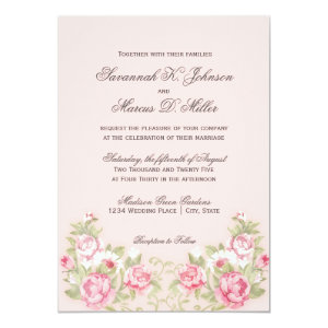 Watercolor Blush Pink Roses Wedding Invitations