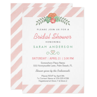 Watercolor Blush Pink Stripes Floral Bridal Shower Card
