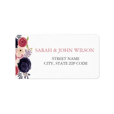 Watercolor blushing red Navy floral address labels