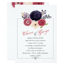 Watercolor blushing red Navy floral Invitations