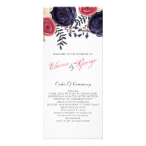 Watercolor blushing red Navy floral programs