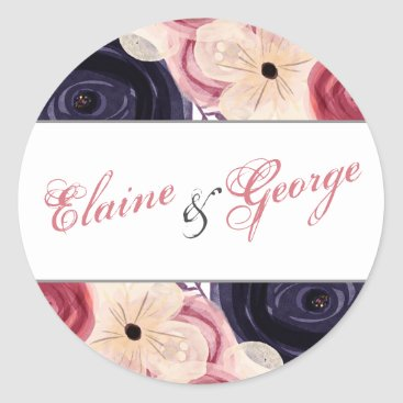 Watercolor blushing red Navy floral stickers