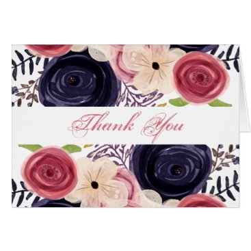 Watercolor blushing red Navy floral thank You Card