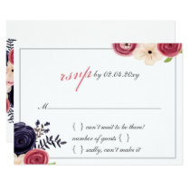 Watercolor blushing red Navy floral Wedding rsvp Card