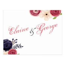 Watercolor blushing red Navy floral Wedding rsvp Postcard