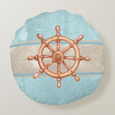 Watercolor Boat Helm Wheel ID385 Round Pillow