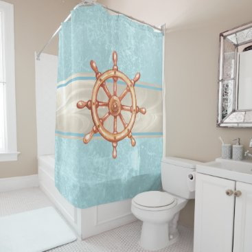 Watercolor Boat Helm Wheel ID385 Shower Curtain