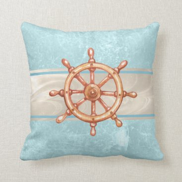 Beach Themed Watercolor Boat Helm Wheel ID385 Throw Pillow