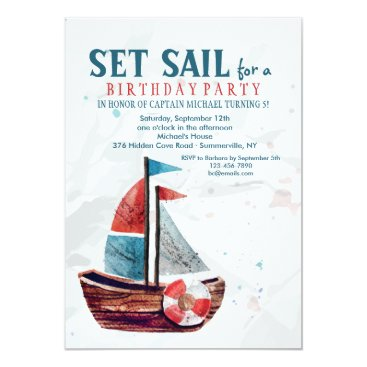 Valentines Themed Watercolor Boat Invitation