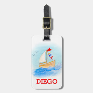 Watercolor boat kids id luggage tag