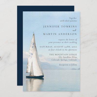 Watercolor Boat Nautical Lake Wedding Invitations