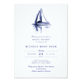Watercolor Boat Navy Blue Bridal Shower Invite