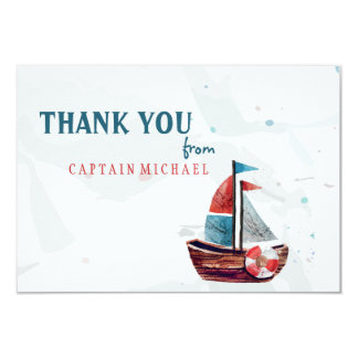 Watercolor Boat Thank You card
