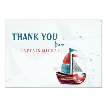 Valentines Themed Watercolor Boat Thank You card