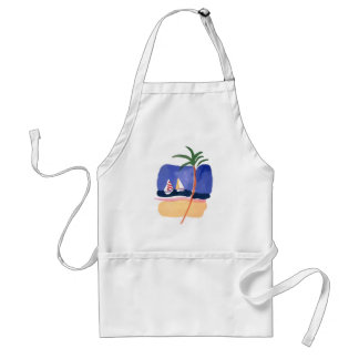 Watercolor Boats, Palm & Beach Adult Apron