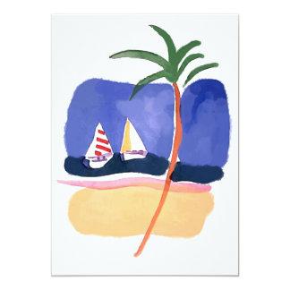 Watercolor Boats, Palm & Beach Card