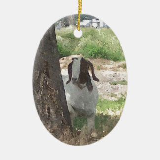 Watercolor Boer Goat Double-Sided Oval Ceramic Christmas Ornament