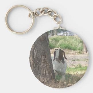 Watercolor Boer Goat Keychain