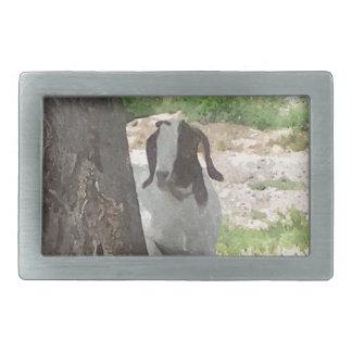 Watercolor Boer Goat Rectangular Belt Buckle
