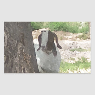 Watercolor Boer Goat Rectangular Sticker