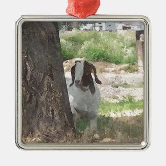 Watercolor Boer Goat Square Metal Christmas Ornament