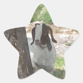 Watercolor Boer Goat Star Sticker