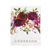 Watercolor Bohemian Floral Burgundy Marsala Fleece Blanket