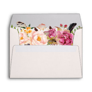 Watercolor Bohemian Floral with your Address Envelope