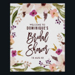 "Watercolor Bohemian Floral Wreath Bridal Shower Poster<br><div class=""desc"">Whimsical and elegant floral bridal shower welcome sign featuring modern brush calligraphy and watercolor floral wreath. This is invitation is perfect for both spring and fall showers. Matching and similar items are available.</div>"