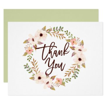 Wedding Themed Watercolor Bohemian Floral Wreath Thank You Card