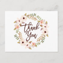 Watercolor Bohemian Floral Wreath Thank You Card
