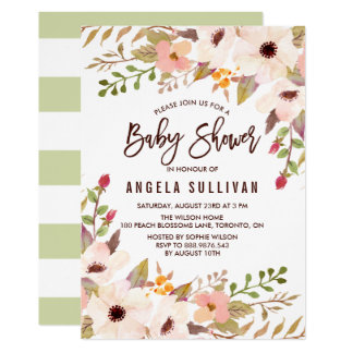 Watercolor Bohemian Flowers Baby Shower Card