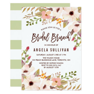 Watercolor Bohemian Flowers Bridal Brunch Card