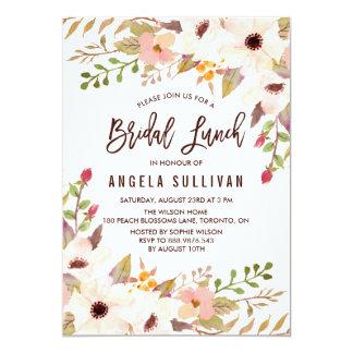 Watercolor Bohemian Flowers Bridal Lunch Card