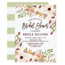 Watercolor Bohemian Flowers Bridal Shower Invitation