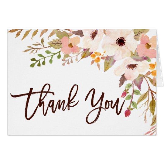 Watercolor Bohemian Flowers Thank You Card