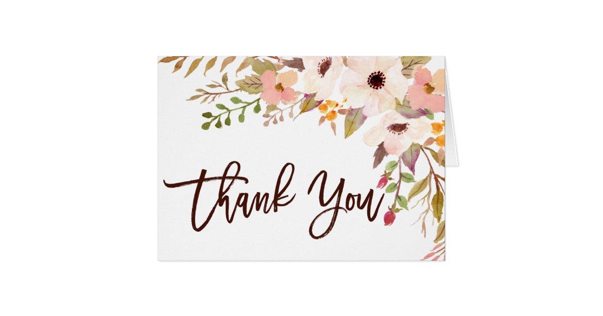 Watercolor Bohemian Flowers Thank You Card Zazzle Com