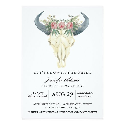 Watercolor Bohemian Roses | Bridal Shower Card