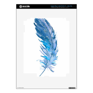 Watercolor Boho Blue Feather Skin For iPad 3