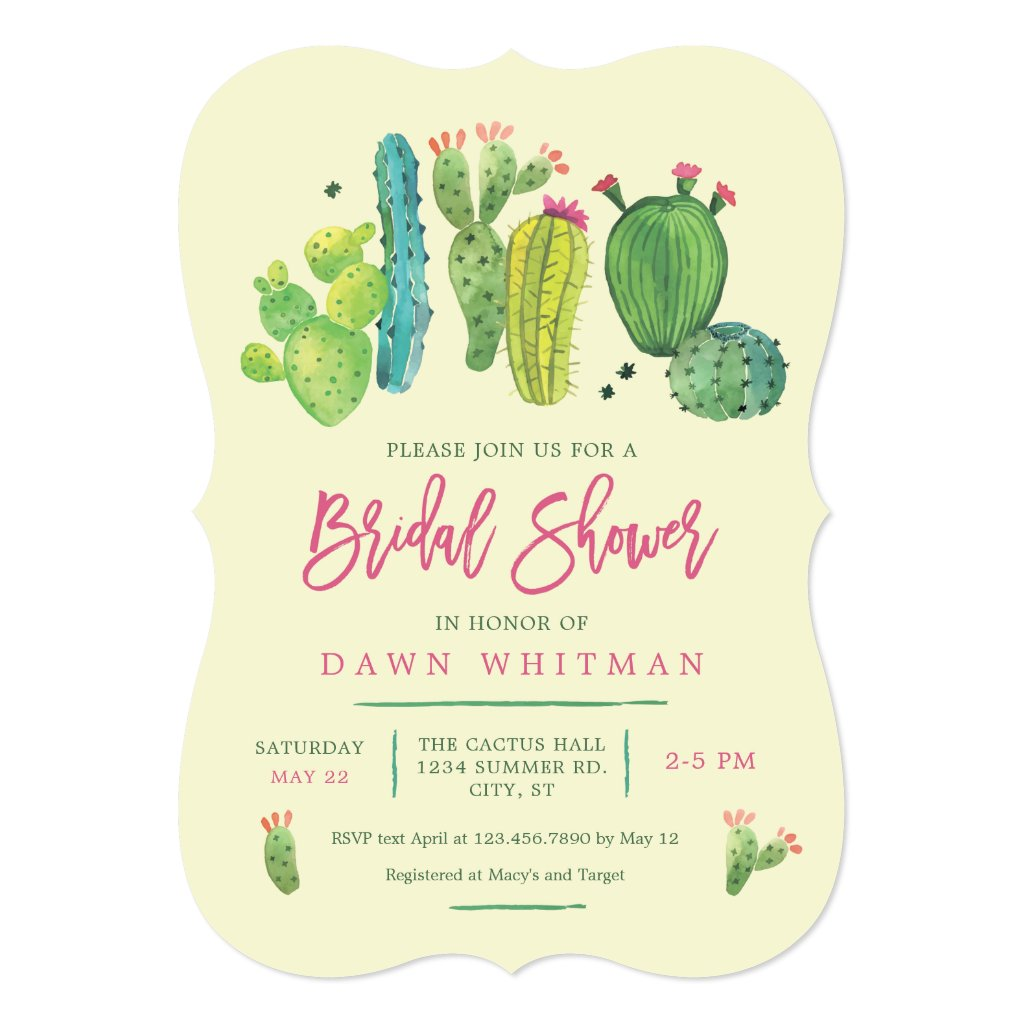 Watercolor Boho Cactus Bridal Shower Invitation
