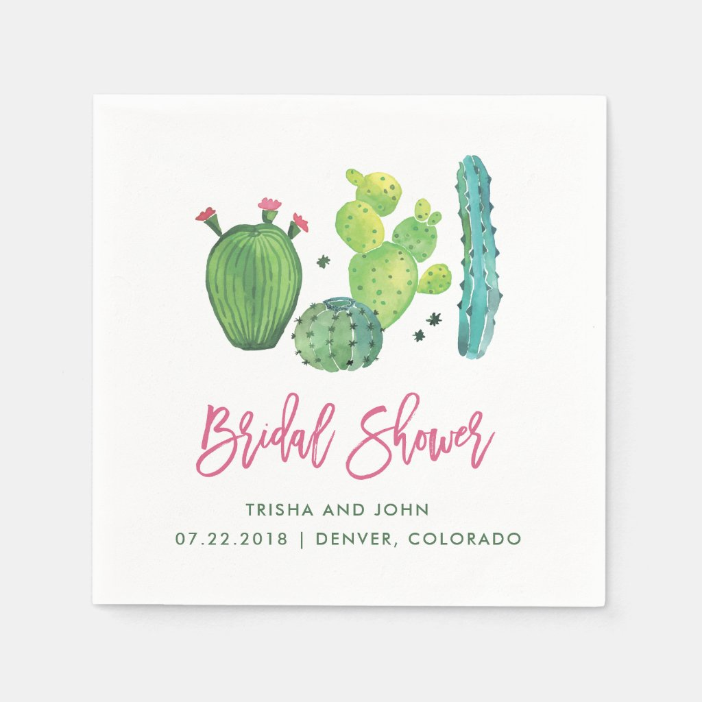 Watercolor Boho Cactus Bridal Shower Napkin