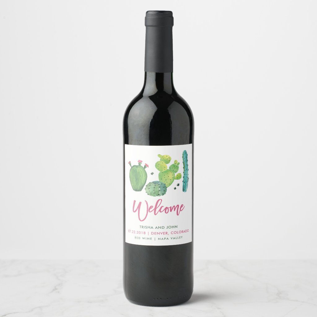 Watercolor Boho Cactus Wedding Wine Label