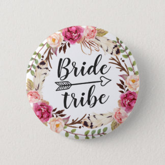 Watercolor Boho Feather Floral Wreath Bride Tribe Button