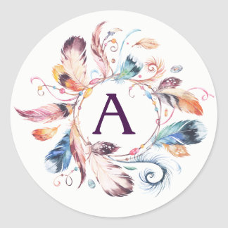 Watercolor Boho Feather Wreath Monogram Classic Round Sticker